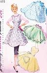 1950s Beautiful Aprons Pattern Simplicity 1393 Full Bib Empire Apron or Pretty Hostess Half Aprons Heart Shape Bib Version Bust 34 Vintage Sewing Patterns