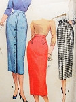 1950s Slim One Yard Pencil Skirts Pattern SIMPLICITY 1690 Simple To Make Wiggle Skirt 3 Style Versions Vintage Sewing Pattern