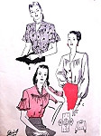 1940s Beautiful Blouses Sleeve Interest Pattern BUTTERICK 4291 Three Lovely Quick n Easy Styles Bust 36 Vintage Sewing Pattern
