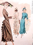 1940s Flirty Cocktail Evening Party Dress Pattern McCALL 7604 Figure Flattering Slim Front Ruffled Back Unique and Beautiful Design Bust 38 Vintage Sewing Pattern