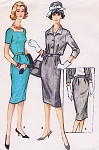 1950s Sheath Dress or Suit Pattern McCALLS 5058 Square Neckline Dress Bloused Jacket Slim Skirt Day or After 5 Bust 34 Vintage Sewing Pattern