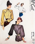 1940s Charming BLOUSE Pattern McCALL 6716 FlatteringYoked Bishop Sleeves Post WW II Front Button Blouses Bust 30 Vintage Sewing Pattern