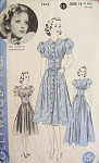 Late 30s Beautiful Dress Frock Pattern HOLLYWOOD 1619 Midriff Dress  Puff Sleeves Day or Evening Length Features Starlet IDA LUPINO Bust 32 Vintage Sewing Pattern