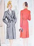 1940s Fab WW II Coat Pattern McCALL 5186 War Time Film Noir Style Wrap n Tie Coat Bust 30 Vintage Sewing Pattern FACTORY FOLDED