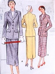 1950 Stylish Suit Pattern McCALL 7973 Fitted Longer Jacket Pencil Slim Skirt Bust 34 Vintage Sewing Pattern FACTORY FOLDED
