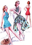 50s BOMBSHELL Sizzling Swimsuit or Playsuit and Wrap Skirt Beachwear Pattern McCALLS 3613 Hot Criss Cross Bathing Suit or Bubble Romper T Strap Back Full Wraparound Skirt Perfect Resort Weekend Wear Bust 30 Vintage Sewing Pattern