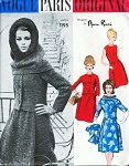 DESIGNER COUTURE Nina Ricci 2 Pc Dress, Jacket and Hood Pattern Vogue Paris Original 1195 Stunning Design Bust 32 Vintage Sewing Pattern