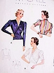 1930s GORGEOUS V Neckline Blouse Pattern McCALL 9299 Stunning Tuck In or Overblouse Day or Evening Bust 30 Vintage Sewing Pattern
