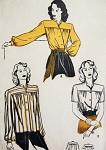 1940s Striking MANDARIN Neckline Blouse Pattern BUTTERICK 3964 Two Styles Very Kate Hepburn Bust 36  Vintage Sewing Pattern FACTORY FOLDED
