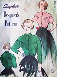 Late 1940s ROMANTIC Blouse Pattern SIMPLICITY DESIGNERS 8040 Flattering Soft Gathers Daytime or After 5 Blouse Bust 34 Vintage Sewing Pattern FACTORY FOLDED