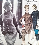 1960s CLASSY Guy Laroche SUITand Blouse Pattern VOGUE PARIS Original 1124 Slim Skirt Slightly Fitted Jacket Overblouse Draped Turtle Neck or Scoop Neckline Bust 34 Vintage Sewing Pattern