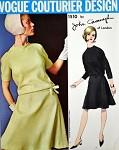 1960s JOHN CAVANAGH Drop Waist Dress Pattern VOGUE COUTURIER Design 1510 Blouson top Dress Bias Cust Flippy Skirt Daytime or Cocktail Party  Bust 31 Vintage Sewing Pattern