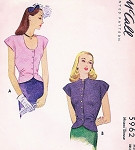 1940s LOVELY OverBlouse Pattern McCALL 5962 Stylish 2 Necklines Sleeveless Film Noir Blouse Bust 36 Vintage Sewing Pattern
