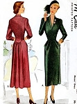 1940s STUNNING Cocktail Dinner Dress Pattern McCALL 7413 Low V Shawl Neckline Slim Front Draped Pockets Gathered Back Figure Flattering  Day or Evening Dress Bust 34 Vintage Sewing Pattern