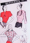 1940s FILM NOIR Blouse Pattern BUTTERICK 3549 Beautiful Day or Evening Overblouse Low Slit Neckline Includes Embroidery Transfer Bust 38 FACTORY FOLDED Vintage Sewing Pattern