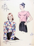 1940s BEAUTIFUL Blouse Pattern VOGUE 6036 Button Back Tuck In Blouse Very Pretty Details Bust 30 Vintage Sewing Pattern FACTORY FOLDED