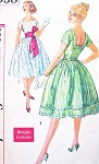 1960s ROCKABILLY Party Dress Pattern SIMPLICITY 2958 Square Neck Full Skirt and Belt Evening Cocktail Dress Bust 32 Easy To Sew Vintage Sewing Pattern