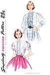 1950s PRETTY Blouse Pattern Simplicity 3799 Two Style Versions Lovely Pintucks Perfect For Sheer Fabrics Bust 30 Vintage Sewing Patterns