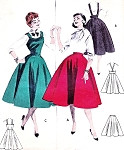 1950s ROCKABILLY Skirt or Jumper Dress Pattern BUTTERICK 7487 Full Skirts Suspender Version Bust 30 Vintage Sewing Pattern
