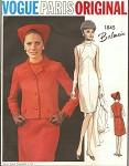 MOD 60s BALMAIN Dress and Jacket  Pattern VOGUE PARIS Original 1845 Geometric Sheath Dress Fitted Jacket Bust 32 Vintage Sewing Pattern
