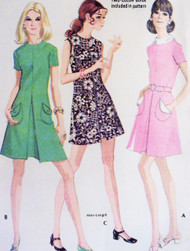 1970s Cute Dress Pattern McCALLS 2353 Inverted Front Pleat 3 Style Versions Bust 36 Vintage Sewing Pattern FACTORY FOLDED