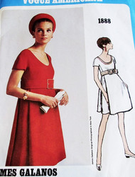 1960s Cocktail Party Dress GALANOS Pattern Vogue Americana 1888 Low Scoop Neckline High Waist Front and Back Pleats Dress Size 10 Vintage Sewing Pattern