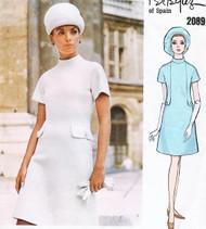 60s MOD Dress Pattern VOGUE COUTURIER DESIGN 2089 PERTEGAZ Seam Interest A Line Dress Bust 34 Vintage Sewing Pattern
