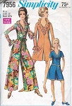 1960s RETRO Mod Jumpsuit Pantdress Pattern Simplicity 7956 Vintage Sewing Pattern Ruffled V Neck Romper 2 Sleeve Lengths UNCUT Bust 38