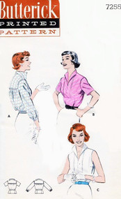 1950s WING Collar Rockabilly Blouse Pattern BUTTERICK 7255 Jaunty Wing Collar, Sailor Collar Back Yoke Perky Blouse Bust 34 Vintage Sewing Pattern FACTORY FOLDED