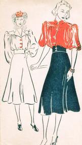 30s Lovely Blouse, CORSET Waist Bias Cut Skirt Pattern New York Pattern 1064 Two Blouse Styles B 34 Vintage Sewing Pattern FACTORY FOLDED