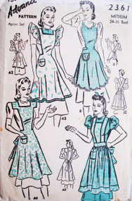 1940s LOVELY Wardrobe of Bib Full Aprons ADVANCE 2361 Four Styles Includes Heart Shape Bib Version Medium Size Vintage Sewing Pattern