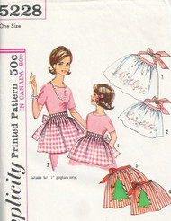 Simplicity 5228 Set of Mother and Daughter Hostess Aprons Sewing Pattern 3 Cute Styles Transfer for Embroidery Applique and Smocking UNCUT
