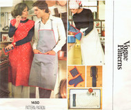Retro 70s Kitchen Accessories and  His and Hers Aprons Pattern VOGUE 1450 Stylish Designs Medium Size Vintage Sewing Pattern FACTORY FOLDED