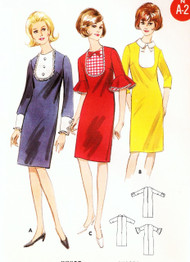 CUTE Mod 60s Slim Dress Pattern SIMPLICITY 3990 Three Style Versions Easy To Sew  Bust 34 Vintage Sewing Pattern UNCUT