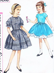 LOVELY 1950s Girls Day or Party Dress Pattern SIMPLICITY 4282 Two Styles Size12 Vintage Sewing Pattern UNCUT