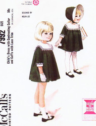 ADORABLE 1960s Helen Lee Toddlers Dress Pattern McCALLS 7992  Little Girls Dress Contrast Square Collar Cuffs Sz 4 Vintage Sewing Pattern