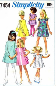MOD 60s Cute Toddlers Dress and Bag Purse Pattern SIMPLICITY 7454 Four Sweet Style Versions Size 4 Little Girls Vintage Sewing Pattern UNCUT
