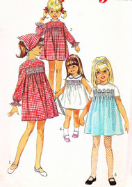 SWEET 1960s Girls Dress and Head Scarf Pattern SIMPLICITY 7466 Cute Smocked Version Size 8 Vintage Sewing Pattern + Smocking Transfer UNCUT
