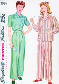 1940s FAB Pajamas Pattern SIMPLICITY 1999 Classy Kate Hepburn Front Pleated Trousers Perfect Daytime Wear Bust 32 Vintage Sewing Pattern FACTORY FOLDED