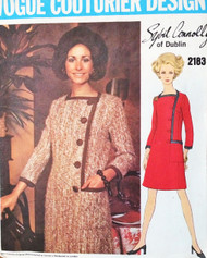 CLASSY 1960s SYBIL CONNOLLY Asymmetric Coatdress Pattern VOGUE COUTURIER Design 2183 Stylish Dress Design Day  or After 5  Size 10 Vintage Sewing Pattern