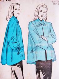 1940s SWING BACK Jacket Coat Pattern ADVANCE 4762 Classy Full Swagger Back 2 Sleeve Styles Bust 30 Vintage Sewing Pattern