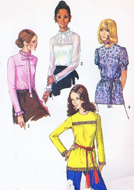 70s Romantic Blouses Pattern SIMPLICITY 9159 Four Styles Size 8 Vintage Sewing Pattern FACTORY FOLDED