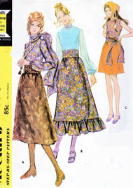 70s ROMANTIC Bohemian Style Separates Pattern McCALLS 2670 Mini or Midi Skirt, Lovely Blouse, Scarf Sash Bust 38 Vintage Sewing Pattern UNCUT