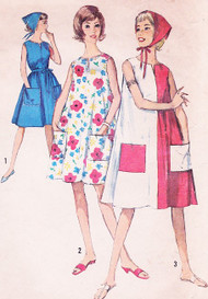 1960s CUTE Beach Tent Patio Dress and Scarf  Pattern SIMPLICITY 5300 Size Medium Bust 34- 36 Vintage Sewing Pattern