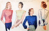 1940s SIMPLICITY 1155 Pretty Blouses Pattern 3 Lovely Button Back Blouse Styles Bust 34 Vintage Sewing Pattern