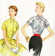 1950s PERKY Blouse Pattern McCALLS 9771 Two Cute Styles Bust 36 Vintage Sewing Pattern