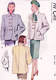 1940s FILM NOIR Style Boxy Coat Jacket Pattern McCALL 6814 Joan Crawford Big Shoulders FAB Design Bust 36 Vintage Sewing Pattern