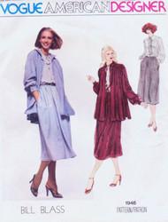 70s Bill Blass Smock Jacket Bow Tie Blouse and Skirt Pattern VOGUE AMERICAN DESIGNER 1946 Casual Elegance Bust 36 Vintage Seventies Sewing Pattern UNCUT