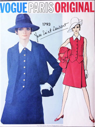 1960s FAB YSL Suit and Weskit Vest Pattern VOGUE Paris Original 1793 Gorgeous Yves Saint Laurent Jacket Wrap Around Skirt and Vest Blouse Bust 32 Vintage Sixties Couture Sewing Pattern