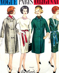 1960 CLASSY Guy Laroche Slim Dress and Straight Coat Pattern VOGUE PARIS Original 1088 Day or Cocktail Dress Bust 36 Vintage Couture Sewing Pattern